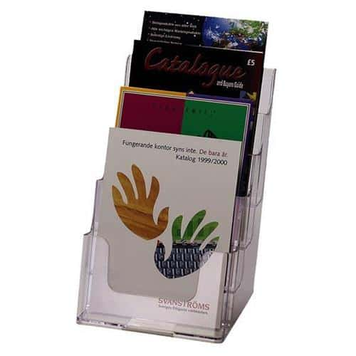 Literature Holders Slanted 4xA5 Clear | Desktop & wall mountable | Holds 148 x 210mm leaflets & flyers | Fusion Office