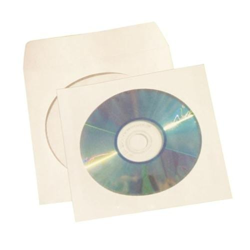 Disc Envelopes Sleeve with Window White [Pack 50] | CD/DVD/Blue-Ray Discs Envelopes | Large Window | Fusion Office