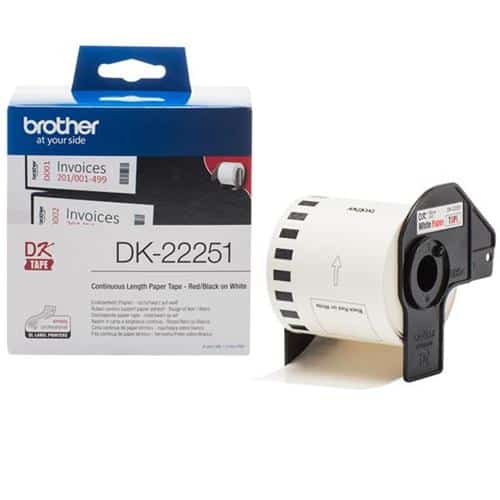 Brother DK22251 Red and Black on White Continuous Length Paper Tape 62mm | Genuine Brother Brand | Fusion Office UK