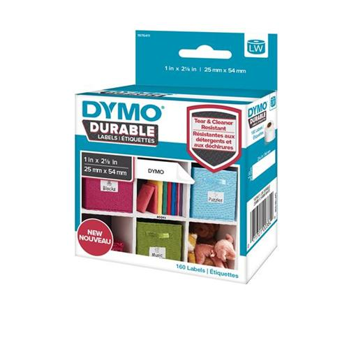 Dymo Durable Labels D1 Tape Temperature UV and Water Resistant 25mmx54mm White Ref 1976411 [Pack 160] - Fusion Office