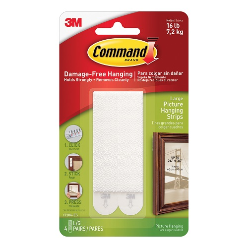 3M 17206 Command Large Picture Strips [Pack 4]   Damage-free hanging, holds strongly and removes cleanly   Easy to apply   Fusion Office UK