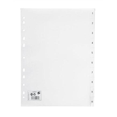 1-10 Plastic Index White A4   High Quality Strong Polypropylene   Wipe-clean and Tear Resistant   Fusion Office