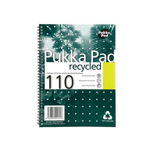 Pukka Pad Recycled A4 Notebook Wirebound RCA4 [Pack 3]   High quality 80gsm white recycled paper   Perforated & Punched   Fusion Office UK