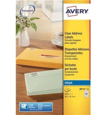 Clear Inkjet Labels - Fusion Office