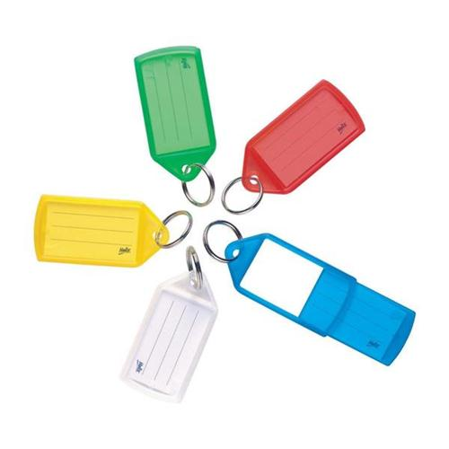 Sliding Key Fobs Assorted Pack 50 | Identify keys, luggage and more with this pack of colourful key hangers | Fusion Office