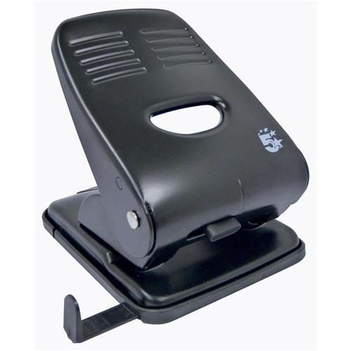 Hole Punch Heavy Duty 2 Holes Black   Great as a desktop perforator   Will punch up to 40 sheets of paper   Fusion Office