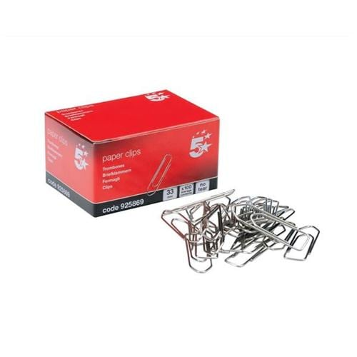 Extra Large Paperclips No-Tear 33mm [Pack 10x100] | Ideal for holding documents without damaging the pages | Fusion Office