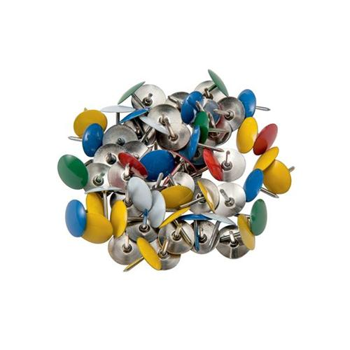 Coloured Drawing Pins [Box 100] | Assorted head colours: Blue, Green, Red, Yellow and White | Fusion Office