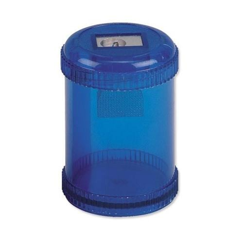 Canister Pencil Sharpeners Single Hole [Pack 10] | Blue translucent canister casing | Sturdy aluminium sharpener | Fusion Office