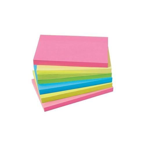 Extra Sticky Notes 3x5 Neon 90 Sheets [Pack 6] | Neon vibrant notes | Yellow, Pink, Green & Orange | Fusion Office