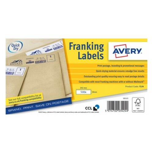 Avery FL04 Auto Franking Labels 1 per Sheet 140x38mm White [1000 Labels] | Strong adhesion | QuickDRY™ | Fusion Office UK