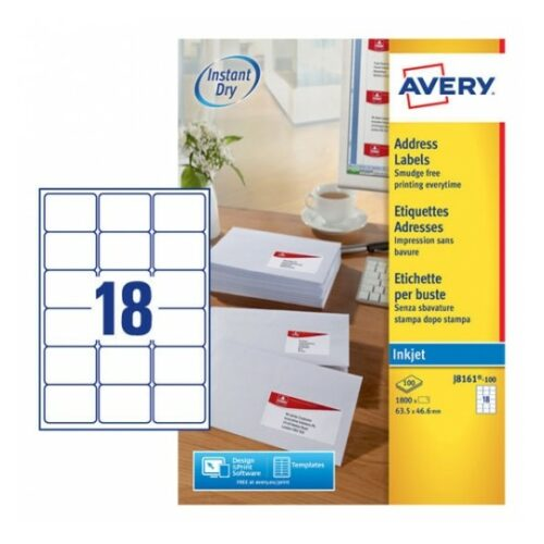 Avery J8161-100 Inkjet Address A4 Labels 18 Per Page 63.5x46.6 White [100 Sheets] | QuickDRY™ | Outstanding Print Quality | Fusion Office UK
