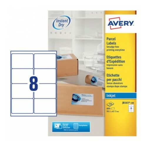 Avery J8165-100 Inkjet Address A4 Labels 8 per Page 99.1x67.7 White [100 Sheets] | QuickDRY™ | Outstanding Print Quality | Fusion Office UK