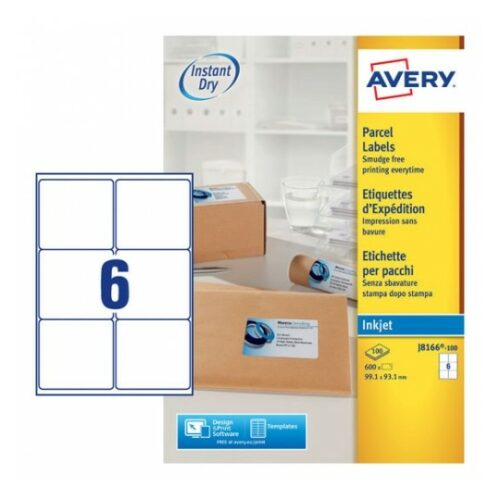 Avery J8166-100 Inkjet Parcel A4 Labels 6 per Page 99.1x93.1 White [100 Sheets] | QuickDRY™ | Outstanding Print Quality | Fusion Office UK