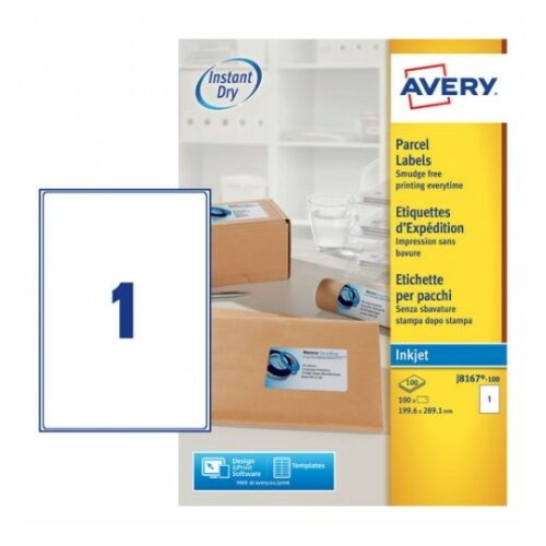 Avery J8167-100 Inkjet Parcel A4 Labels 1 per Page 199.6x289.1 White [100 Sheets] | QuickDRY™ | Outstanding Print Quality | Fusion Office UK