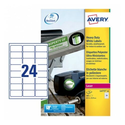 Avery L4773-20 Laser Heavy Duty A4 Labels 24 per Page 63.5x33.9 White [20 Sheets] | Extra strong | Permanent | Fusion Office UK - Andover