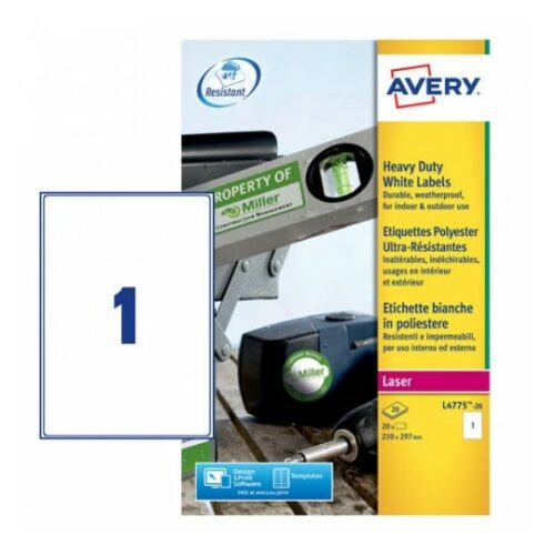Avery L4775-20 Laser Heavy Duty A4 Labels 1 per Page 210x297 White [20 Sheets] | Extra strong | Permanent | Fusion Office UK - Andover