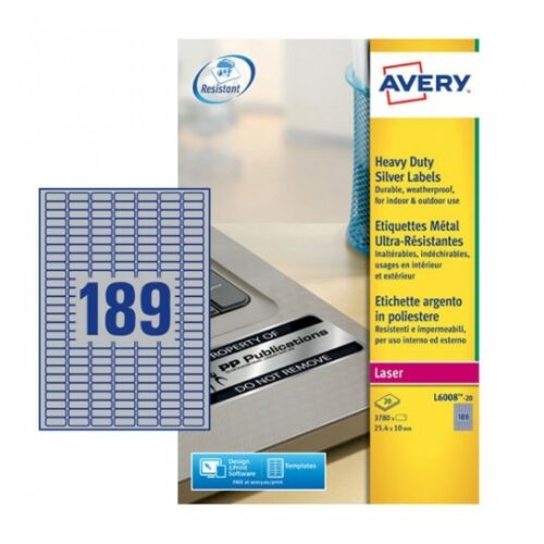 Avery L6008-20 Laser Heavy Duty A4 Labels 189 per Page 25.4x10 Silver [20 Sheets] | Extra strong | Permanent | Fusion Office UK - Andover