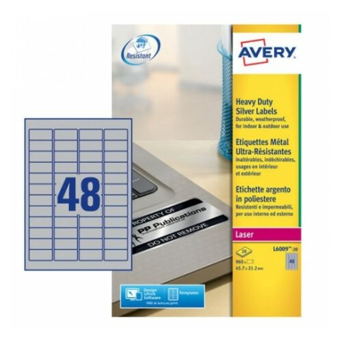 Avery L6009-20 Laser Heavy Duty A4 Labels 48 per Page 45.7x21.2 Silver [20 Sheets]   Extra strong   Permanent   Fusion Office UK - Andover
