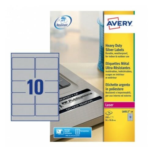 Avery L6012-20 Laser Heavy Duty A4 Labels 10 per Page 96x50.8 Silver [20 Sheets] | Extra strong | Permanent | Fusion Office UK - Andover