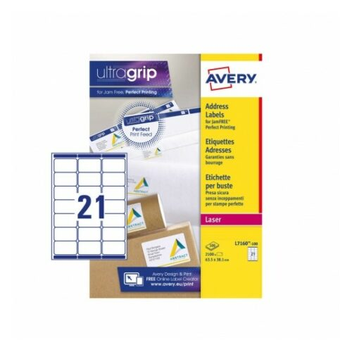 Avery L7160-100 Laser Address A4 Labels 21 Per Page 63.5x38.1 White [100 Sheets]   JamFREE™ printing   FSC certified paper   Fusion Office UK
