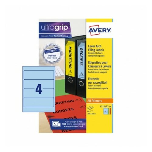Avery L7171A-20 Laser Lever Arch A4 Labels 4 per Page 200x60 Assorted [20 Sheets]   Absolutely opaque   JamFREE™ printing   Fusion Office UK
