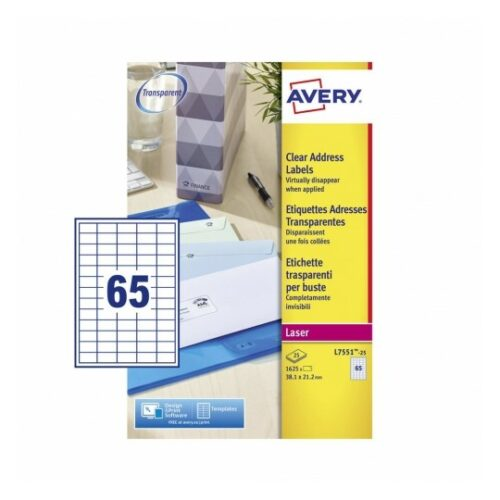 Avery L7551-25 Laser Address A4 Labels 65 per Page 38.1x21.2 Clear [25 Sheets] | Transparent | Labels virtually disappear | Fusion Office UK