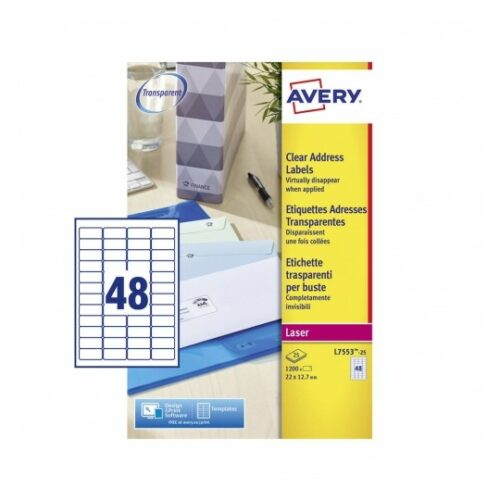 Avery L7553-25 Laser Address A4 Labels 48 per Page 22x12.7 Clear [25 Sheets] | Transparent | Labels virtually disappear | Fusion Office UK