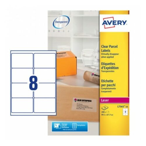 Avery L7565-25 Laser Address A4 Labels 8 per Page 99.1x67.7 Clear [25 Sheets] | Transparent | Labels virtually disappear | Fusion Office UK