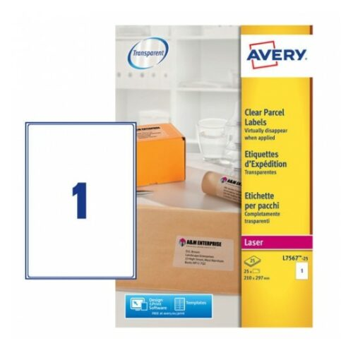 Avery L7567-25 Laser Address A4 Labels 1 per Page 210x297 Clear [25 Sheets]   Transparent   Labels virtually disappear   Fusion Office UK