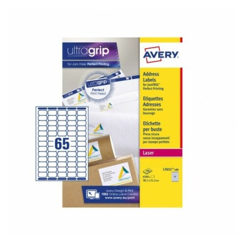 Avery L7651-100 Laser Address A4 Labels 65 Per Page 38.1x21.2 White [100 Sheets] | JamFREE™ printing | FSC certified paper | Fusion Office UK