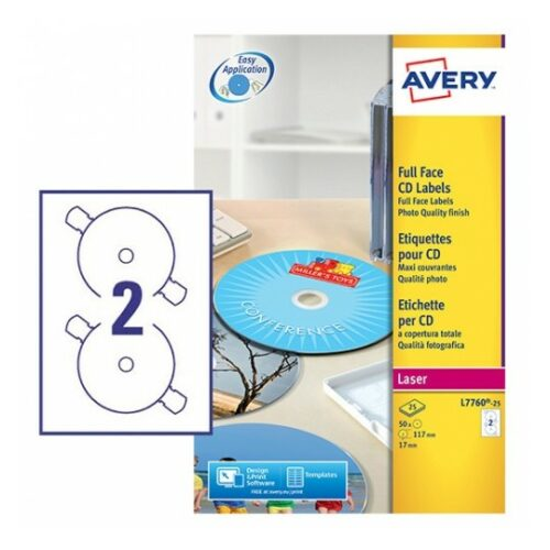Avery L7760-25 Laser CD/DVD A4 Labels 2 per Page Dia.117mm Glossy [25 Sheets]   Full Face CD labels cover the surface   Fusion Office UK