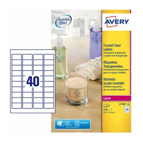 Avery L7781-25 Laser Crystal Clear A4 Labels 40 per Page 45.7x25.4 [25 Sheets] | Glossy great for glass, plastics & metal | Fusion Office UK