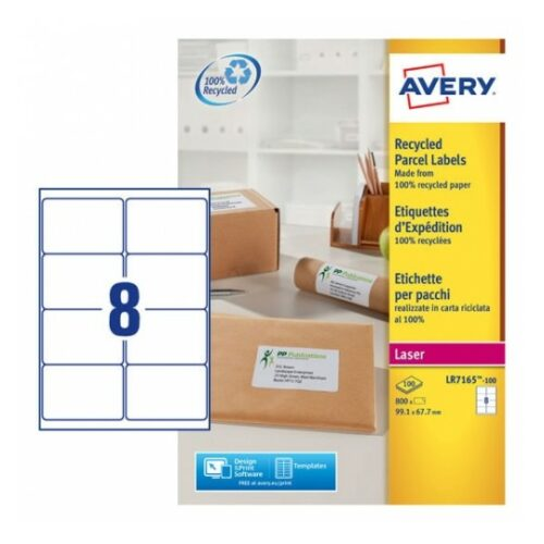 Avery LR7165-100 Laser Recycled A4 Labels 8 per Page 99.1x67.7 White [100 Sheets] | 100% recycled labels & backing sheet | Fusion Office UK