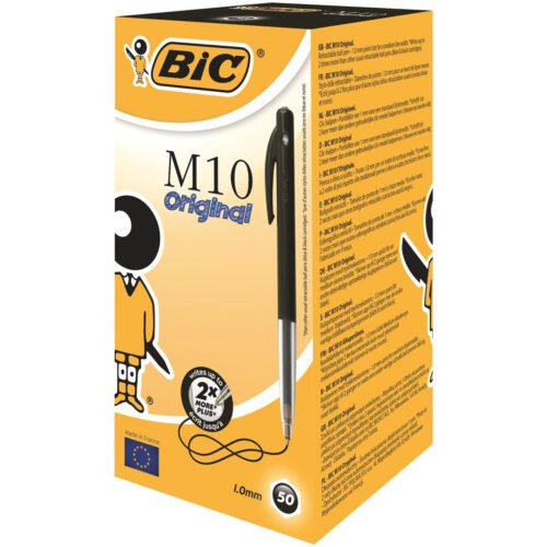 BIC M10 Original Black Ball Pen Retractable 1199190125 [Pack 50] | The essential, iconic retractable ballpoint pen | Fusion Office UK