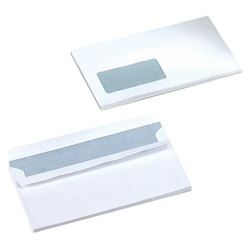 Wallet Envelopes DL White Mediumweight Window Self Seal 90gsm Pack 1000 | Ideal for DL 210x99mm documents | Fusion Office