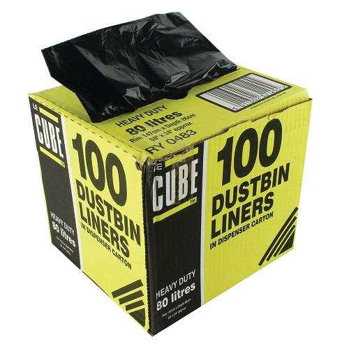 Le Cube Dustbin Liners Black 98 Litres Pack 100 | Handy Dispenser Box | 1474 x 864mm | Refuse Sacks | Fusion Office