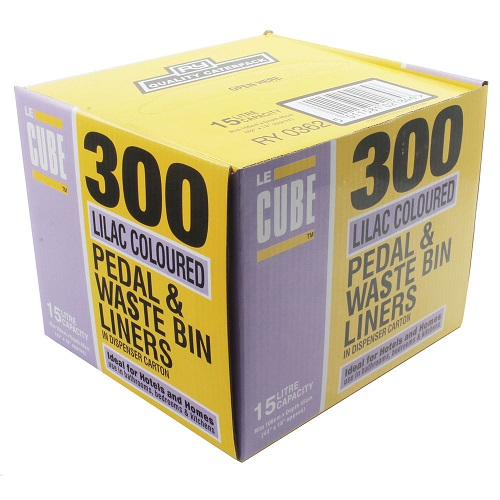 Le Cube Pedal Bin Liners Lilac 15 Litres [Pack 300] | Handy dispenser box | Dimensions: 880x450mm | Fusion Office