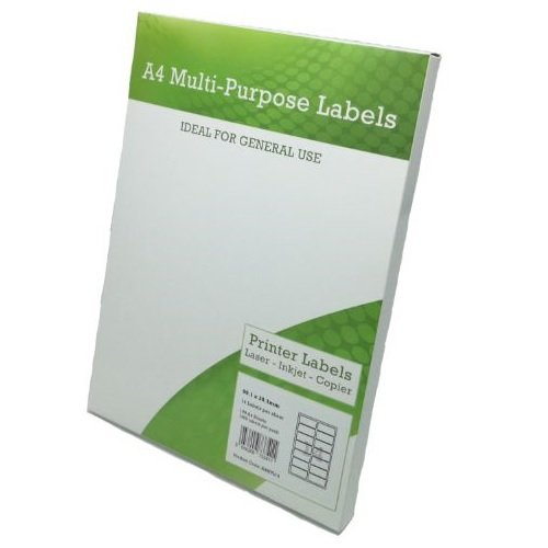 A4 Labels 14 per Page 99.1x38.1mm White [100 Sheets]   Sheet Labels   Multipurpose for Laser Inkjet and Copier   Fusion Office