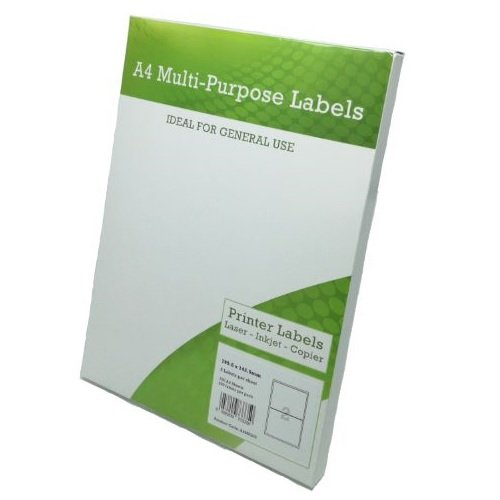 Multi Purpose Labels 2 per Page 199.6x143.5mm White [100 Sheets] | Fusion Office