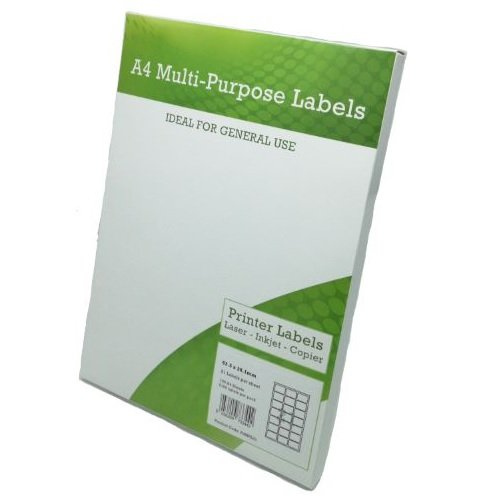 A4 Labels 21 per Page 63.5x38.1mm White [100 Sheets]   Sheet Labels   Multipurpose for Laser Inkjet and Copier   Fusion Office