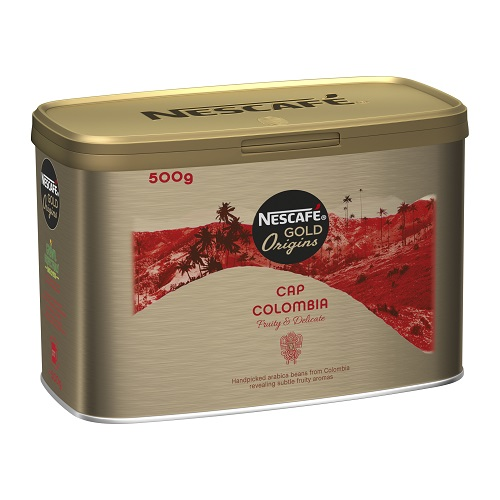 Nescafe Gold Origins Cap Colombia Coffee 500g | This light-roasted instant coffee provides a premium coffee experience | Fusion Office UK