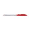 Rubber Grip Pens Red Retractable [Pack 10] | Cushioned rubber finger grip | clear shatterproof barrel | Fusion Office