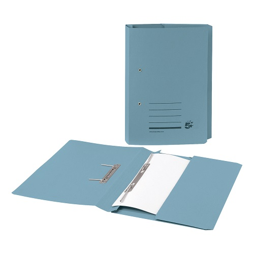 Spring Pocket Files Blue Recycled [Pack 25] | Medium weight 285gsm 100% recycled manilla | A4/Foolscap | Fusion Office