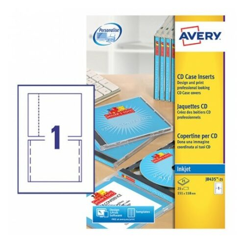 Avery J8435-25 Inkjet CD/DVD A4 Case Inserts White [25 Sheets] | Inkjet inserts made from special QuickDRY™ material | Fusion Office UK