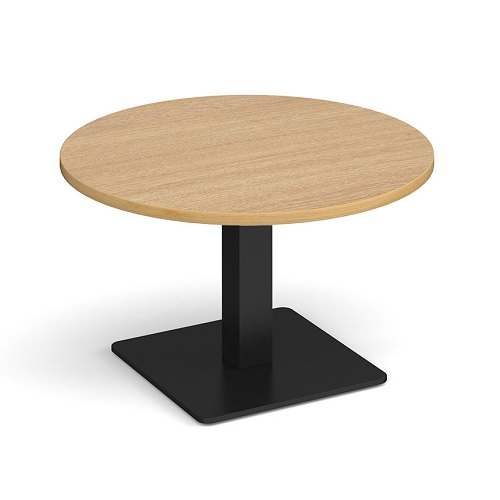 Brescia 800mm Circular Coffee Table Oak / Black Base BCC800-K-O | A stylish focal point for any breakout space | Fusion Office UK