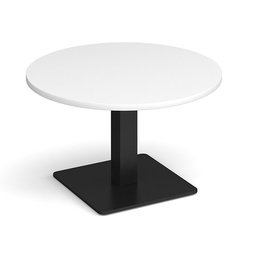 Brescia 800mm Circular Coffee Table White / Black Base BCC800-K-WH | Stylish focal point for any breakout space | Fusion Office UK