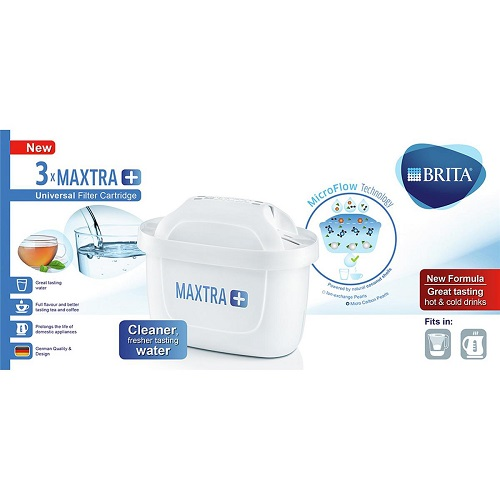 Brita Maxtra+ Cartridges [Pack 3] | New finger holes for easy cartridge exchange and no pre soaking required | Fusion Office UK