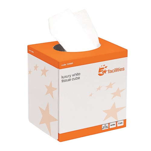 Facial Tissues Cube 2 Ply 70 Sheets [Pack 24]   Cube box packaging   70 luxury tissues per cube box   Fusion Office