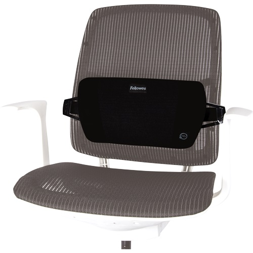 Fellowes PlushTouch Lumbar Support 8026501   Adjustable strap with durable buckle fits most chairs   Fusion Office